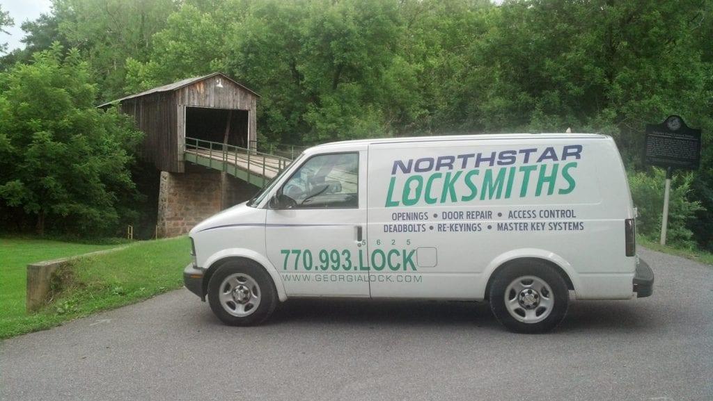 Northstar locksmith van in front of bridge in Euharlee Georgia
