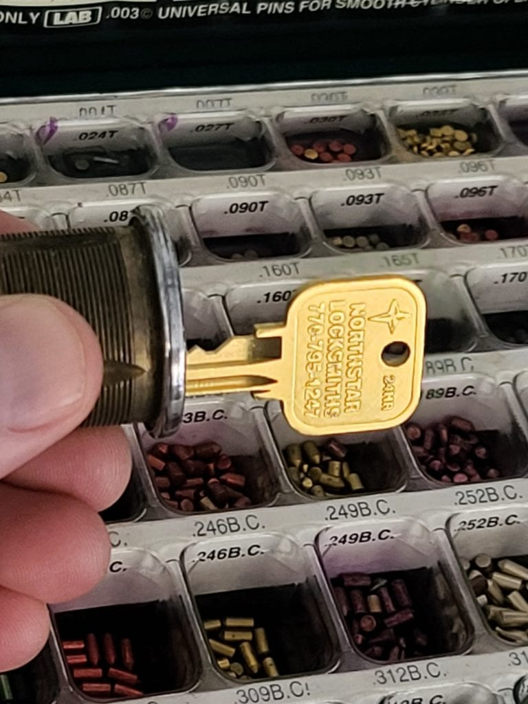 Rekeying locks for a customer that had requested to have their locks changed which would have been far more expensive